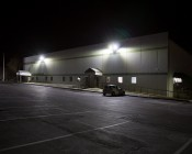 LED Parking Lot Light - 300W (1,000W MH Equivalent) LED Shoebox Area Light - 5000K - 39,000 Lumens: Illuminated on Wall