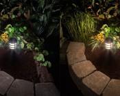 LED Landscape Path Lights - Mini Bollard - 2 Watt: Comparison Between Natural White (left) & Warm White (right)