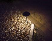 Landscape LED Path Lights w/ Mushroom Shade - 3 Watt - Adjustable Height: Showing Beam Pattern.