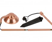 Landscape LED Path Lights w/ Offset Round Copper Light Head - 3 Watt - 95 Lumens: Lamp Head, Lamp Post, Ground Mounting Stake, Power Wire; Assembly Required