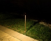 Landscape LED Path Lights w/ Offset Round Copper Light Head - 3 Watt - 95 Lumens: Outside Illuminated Between Grass And Pathway