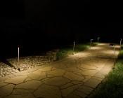 Landscape LED Path Lights w/ Offset Round Copper Light Head - 3 Watt - 95 Lumens: Pathway Illuminated
