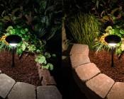 LED Landscape Path Lights - Single Tier - 2 Watt: Comparison Between Natural White (left) & Warm White (right)