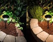 LED Landscape Path Lights - Single Tier - 4 Watt: Comparison Between Natural White (left) & Warm White (right)
