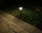 Landscape LED Path Lights w/ Triple Tier Pagoda Style Light Head - 1 Watt - 11 Lumens: Illuminated Between Path And Grass
