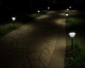 Landscape LED Path Lights w/ Triple Tier Pagoda Style Light Head - 1 Watt - 11 Lumens: Illuminated Pathway