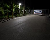 LED Dusk to Dawn Security Light w/ Mast Arm - 50W - Natural White: Shown Installed Over Marina Gate In Natural White.