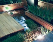 LED Underwater Pool Lights and Pond Lights - Single Lens - 60W: Shown As Up Lighting In Small Water Feature/Pond.