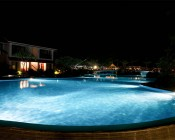 LED Underwater Pool Lights and Pond Lights - Double Lens - 120W: Shown Installed In Pool In White.