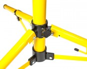 Portable Work Light Tripod Stand w/ Flat T-Bar: Showing Base Of Tripod And Locking Mechanism.