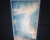 Skylens™ Fluorescent Light Diffuser - Summer Sky Decorative Light Cover - 2' x 4': Installed in Fluorescent Fixture in Drop Ceiling