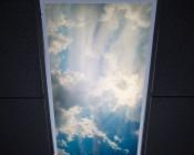 Skylens™ Fluorescent Light Diffuser - Sun Beams Decorative Light Cover - 2' x 4': Installed in Fluorescent Fixture in Drop Ceiling