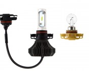 Motorcycle LED Headlight Conversion Kit - PSX24W LED Fanless Headlight Conversion Kit with Compact Heat Sink: Size Comparison to Incandescent Bulb