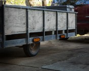 """Oval LED Strobe Truck and Trailer Lights - 6"""" LED Lights w/ Built-In Controller - 3-Pin Connector - Shown as Marker Lights on a Trailer"""