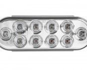 "Oval LED Truck Lights and Trailer Lights with Clear Lens - 6"" LED Brake/Turn/Tail Lights w/ 10 High Flux LEDs - 3-Pin Connector: Front View"