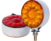 """Round LED Pedestal Truck and Trailer Lights - 4"""" Double Face Brake/Turn/Tail Lights"""