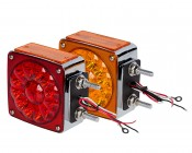 """Square LED Pedestal Truck and Trailer Lights - 4.25"""" Double-Face Brake/Turn/Clearance/Tail Lights- Bottom view"""