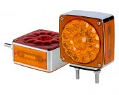 """Square LED Pedestal Truck and Trailer Lights - 4.25"""" Double-Face Brake/Turn/Clearance/Tail Lights"""