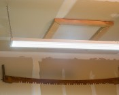40W LED Shop Light/Garage Light w/ Pull Chain - 4' Long: Close Up View of Light Installed on Ceiling in Garage