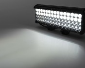 """15"""" Quad Row Heavy Duty Off Road LED Light Bar with Multi Beam Technology - 180W: Showing Both Flood And Spot Beam Patterns On."""