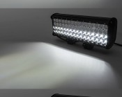 """15"""" Quad Row Heavy Duty Off Road LED Light Bar with Multi Beam Technology - 180W: On Showing Flood, Spot, And Multi Beam Patterns."""