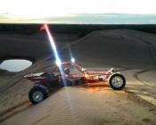 "9"" Quad Row Heavy Duty Off Road LED Light with Combo Beam - 108 Watt installed on sand rail"