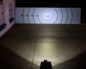 """9"""" Quad Row Heavy Duty Off Road LED Light with Multi Beam Technology - 108W: Beam Pattern On Target From 50 Feet Away"""