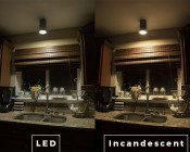 R20 LED Bulb - 60 Watt Equivalent - Dimmable LED Flood Light Bulb - 600 Lumens: Incandescent and LED Comparison Over Kitchen Sink