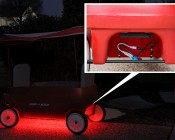 12V DC Battery Power Supply - 8-Cell AA Battery Holder: Covered Switch Pack Installed with Weatherproof LED Light Strips on Radio Flyer Wagon