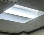 36W Recessed LED Troffer Light w/ Center Basket - 2ft x 2ft Light On