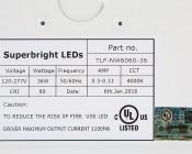 Recessed LED Troffer Light Retrofit w/ Center Basket - 2ft x 2ft: Label Information.