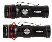 Rechargeable LED Flashlight with Charging Dock - NEBO REDLINE RC : Profile View, Twist to Zoom