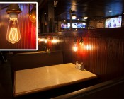 Flexible Filament LED Bulb - ST18 Carbon Filament Style Bulb - Dimmable 15 Watt Equivalent - Heart - 153 Lumens: Installed in Restaurant Booth Decorative Light Fixture