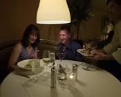 LED Globe Light Bulb Over Restaurant Table