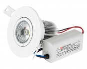 7 Watt COB LED Recessed Light Fixture w/ Multifaceted Lens - Mean Well CC Driver