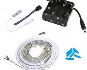 RGB Battery Powered LED Light Strips Kit - Multicolor - 2 Portable LED Light Strips: All Included Pieces (in-line option)