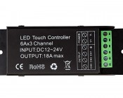 RGB LED Controller - Wireless RF Touch Color Remote with Dynamic Modes - 6 Amps/Channel: Front View of Controller