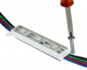 RGB LED Module - Linear Sign Module w/ 3 SMD LEDs: Showing Screw Mounting Hole.