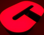 RGB LED Module - Linear Sign Module w/ 3 SMD LEDs: Shown Installed In Sign Letter Module In Red.
