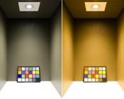 RLFA-x11W-60 - LED Recessed Light Fixture shown in neutral colored box with ColorChecker chart to demonstrate CRI. Natural White (shown Left) and Warm White (shown Right)