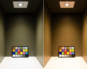 RLFA-x7W-60 - LED Recessed Light Fixture shown in neutral colored box with ColorChecker chart to demonstrate CRI. Natural White (shown Left) and Warm White (shown Right)