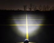 "3.25"" Round 12W Heavy Duty High Powered LED Work Light: Showing Beam Pattern Aimed At Treeline 200 Feet Away"