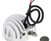 """3.25"""" Round 12W Heavy Duty High Powered LED Work Light: Back View With Size Comparison"""