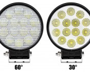 "4.5"" Round 18W Heavy Duty High Powered LED Work Light with Switch: Front View Of 60° & 30°"