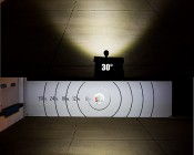 "5"" Round 25W Heavy Duty High Powered LED Work Light with Switch: Beam Pattern On Target From 30 Feet Away"