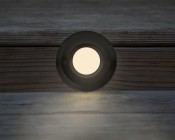 Face Plate for Round LED Step Light - Open Window or Louvered: Installed In Deck Step