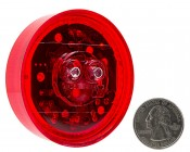 M4R series 2.5in Round LED Marker Lamp: Back View With Size Comparison