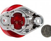 M4SM series 2.5in Round LED Marker Lamp with Chrome Bezel: Back View With Size Comparison
