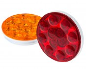 "Round LED Truck Trailer Light with Hardwired PL-3 Adapter - 4"" LED Stop Turn Tail Light with 12 LEDs: Available In Red & Amber"