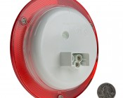 """Round LED Truck Trailer Light with Built In Reflectorized Flange - 5.5"""" LED Stop Turn Tail Light with 24 LEDs: Back View With Size Comparison"""